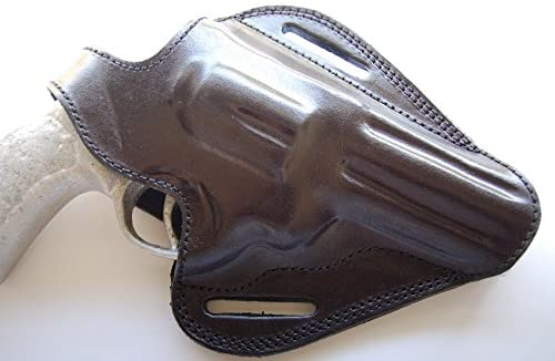 Cal38TT4 Handcrafted Leather Belt Holster Tan Black for Taurus Tracker 44 Magnum 4