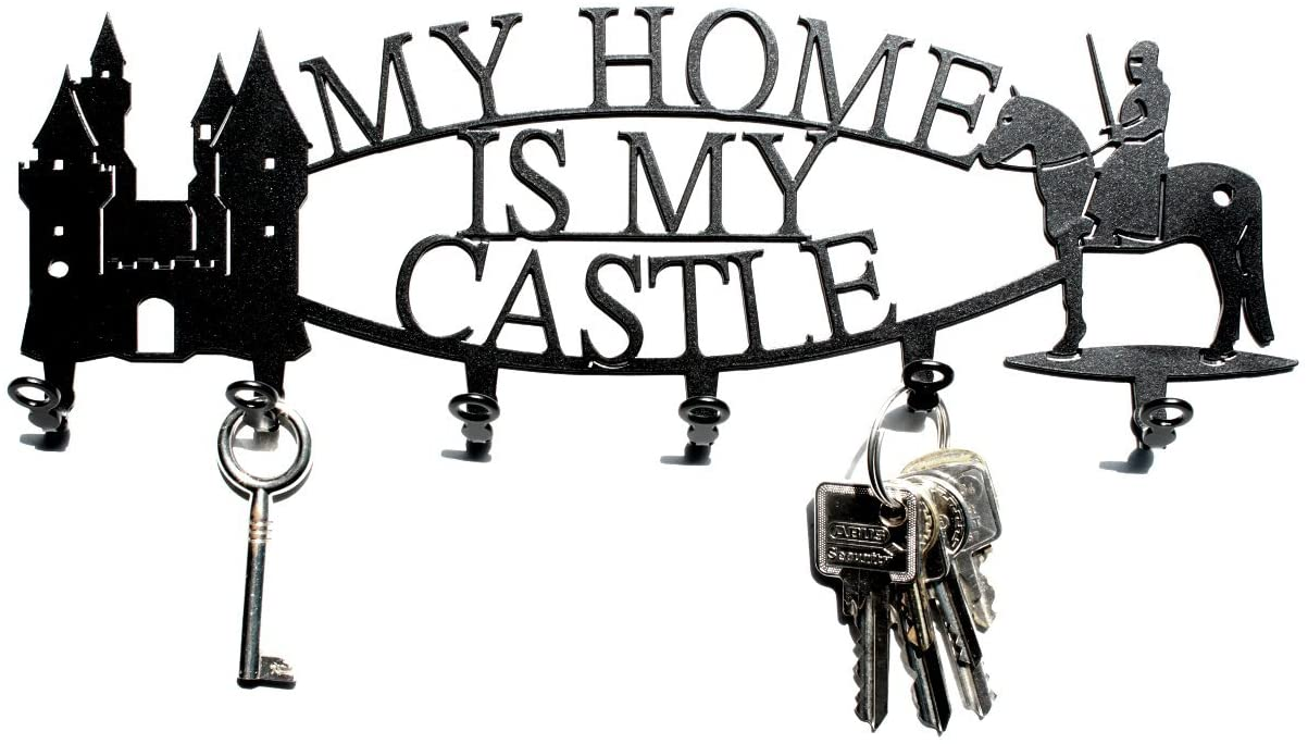 steelprint.de Key Holder/Hook My Home is My Castle - Key Hooks for Wall, Hanger - 6 Hooks Black Metal
