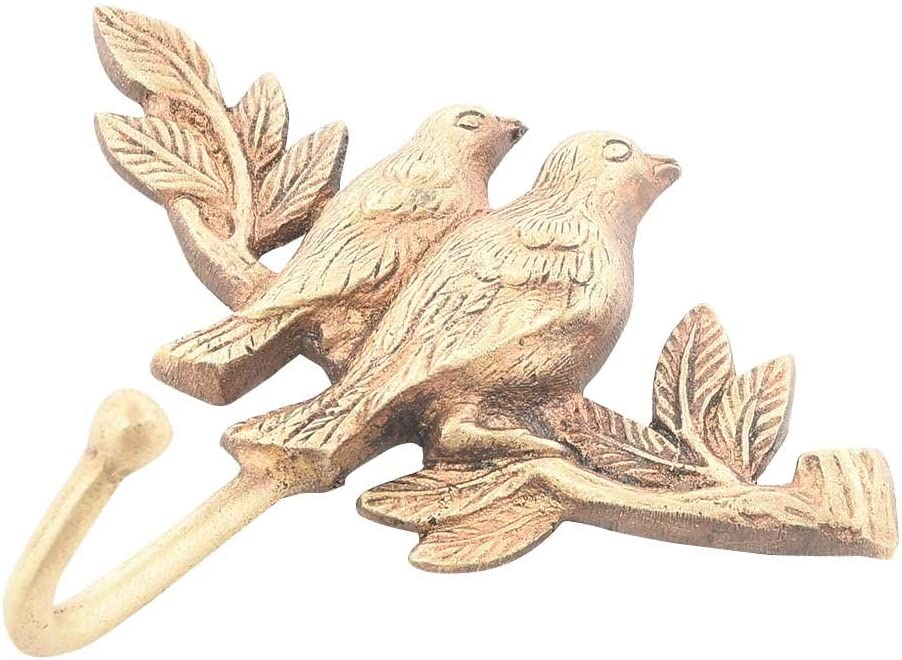 Indianshelf Handmade 1 Artistic Vintage Brass Golden Birds Wall Towel Hooks for Hanging Coat Key Holders Designer