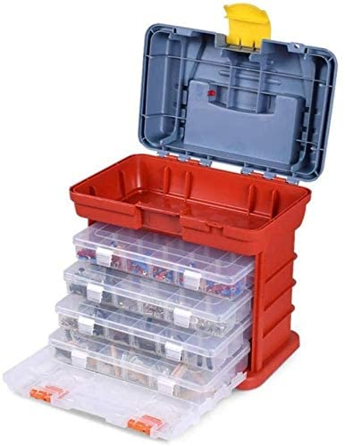 Portable Multifunctional Hardware Storage Box with 4-Layer Parts Plastic Box Outdoor for Repair Accessories Toolcase,Red Tool Box