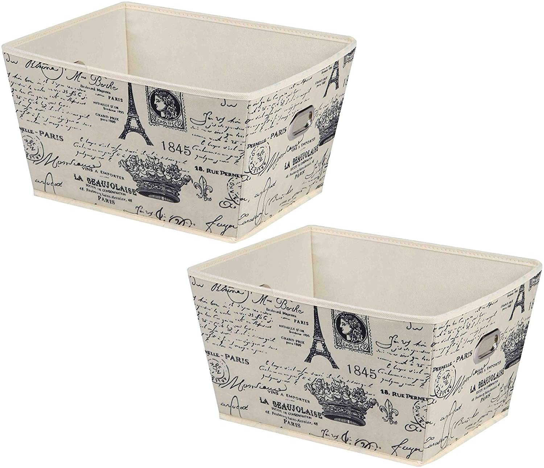 Elaine Karen Deluxe Storage Bin Box Organizer Tote Basket - 2pc Set - 13