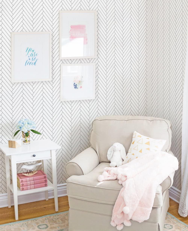 Simple Shapes Herringbone Tile Pattern Wallpaper - 2 ft x 4 ft - Single