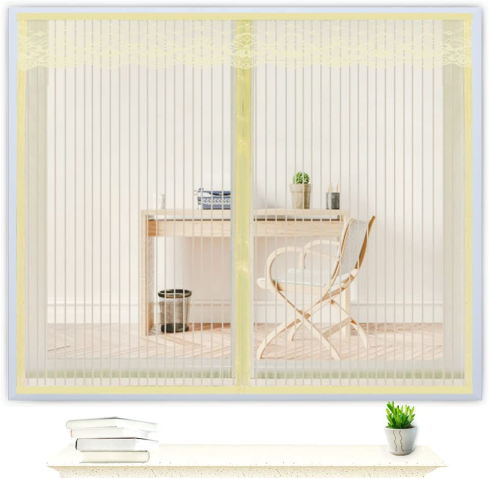 Magic Tape Window Screen Magnetic Soft Yarn Curtain Encryption for Bedroom Kitchen Screen Mesh-Cream Color 100x150cm(39x59inch)
