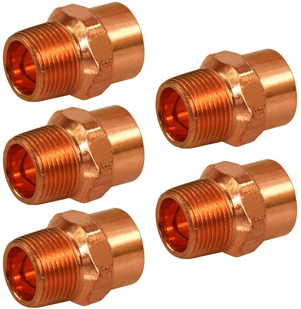 Supply Giant DDNA0340-5 Male Adapter Reducing Fitting Sweat x MIP Connections, 3/4 X 1/2, Copper