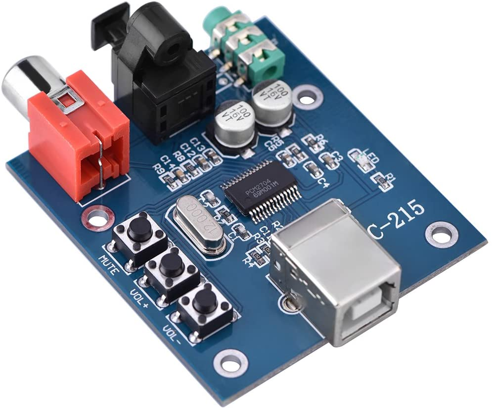 Gojiny Decoder Board, PCM2704 USB DAC to S/PDIF HiFi Sound Card Decoder Board 3.5mm Analog Output F/PC Support WINXP / WIN7 / WIN8,