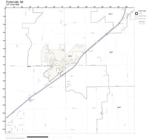ZIP Code Wall Map of Potterville, MI ZIP Code Map Laminated