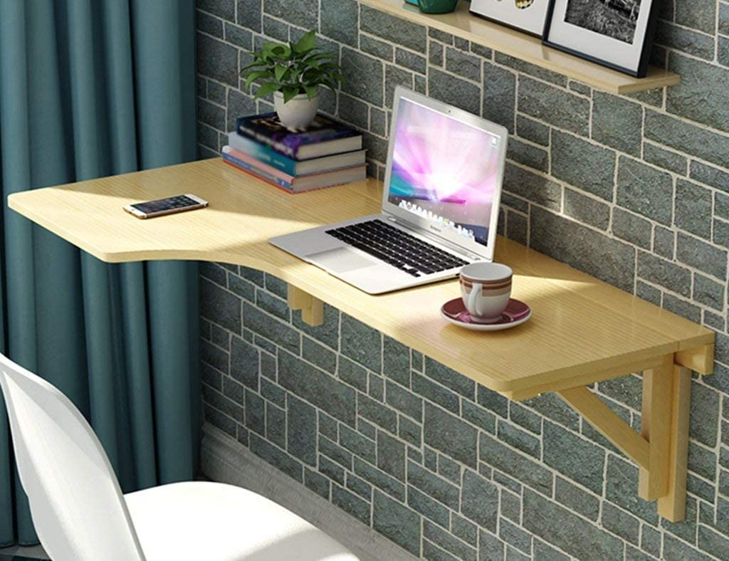 HLL Household Wall-Mounted Computer Desk - Folding Students Computer Desk Wall-Mounted Solid Wood Kitchen Dining Table Learning Desk Wall Decoration / 80×60cm