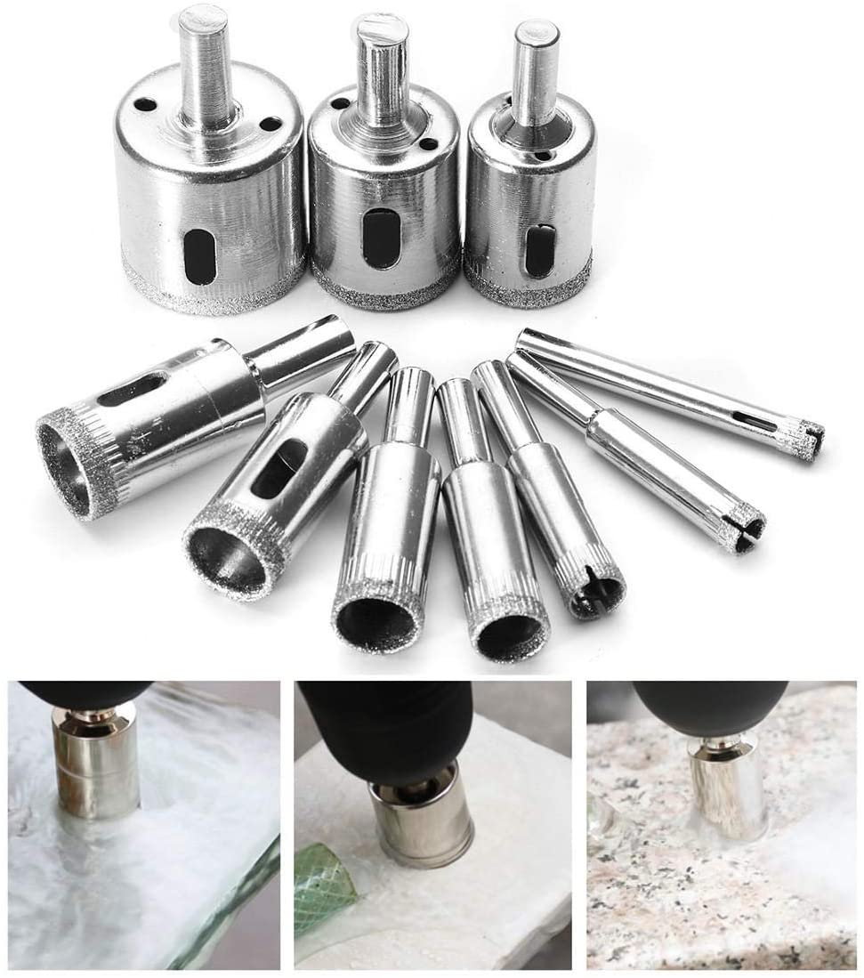 DS-Wang Drill Drill 6mm-32mm 10pcs Diamond Hole Saw Set Tile Ceramic Glass Porcelain Marble Hole Saw Cutter Drill Accessories
