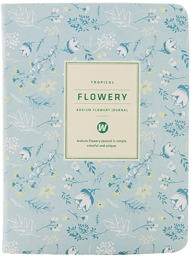 A6 Kawaii Floral Fresh Flower Notebook Yearly Monthly Weekly Planner Agenda School Office Supplies Cute Stationery Diary Book for Girl (Light Blue)