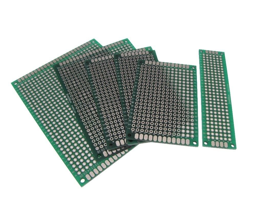 Double Side Prototype Board Perforated 2.54mm Through Hole - Pack of 6 Sizes