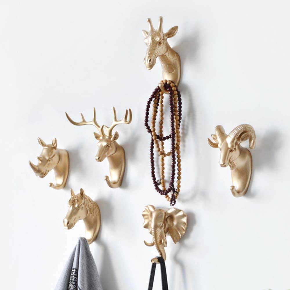 Animal Head Wall Decor,Set of 6 Deer Head Horse Head Sheep Head Rhino Head Elephant Head and Giraffe Head Creative Home Decoration Hanger Resin Material for Coat Hats Keys Bags Purse Towels(Gold)