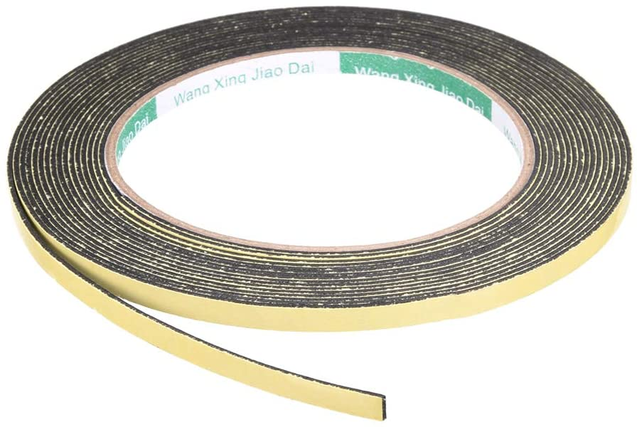 uxcell Sealing Foam Tape 5mm Wide 1mm Thick 5m/16.4ft Long, Self Adhesive Weather Strip for Window Door Insulation