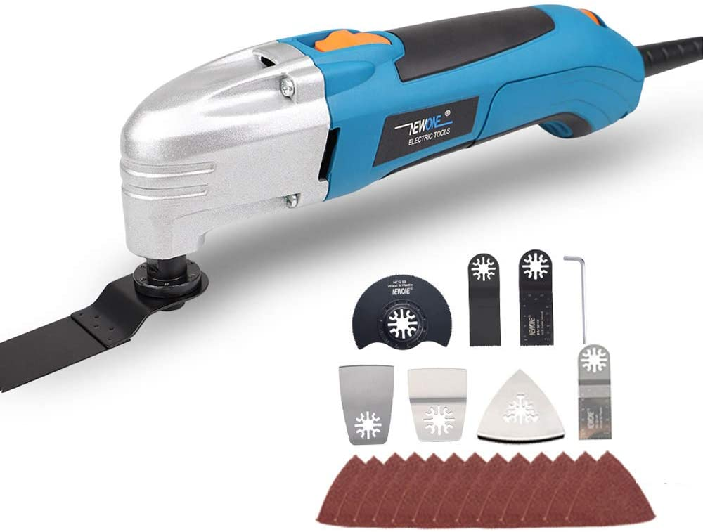 NEWONE 1.8A variable speed multi tool oscillating tool with 36 oscillating saw blade and sand paper (kti 2: with 36pcs accessories)