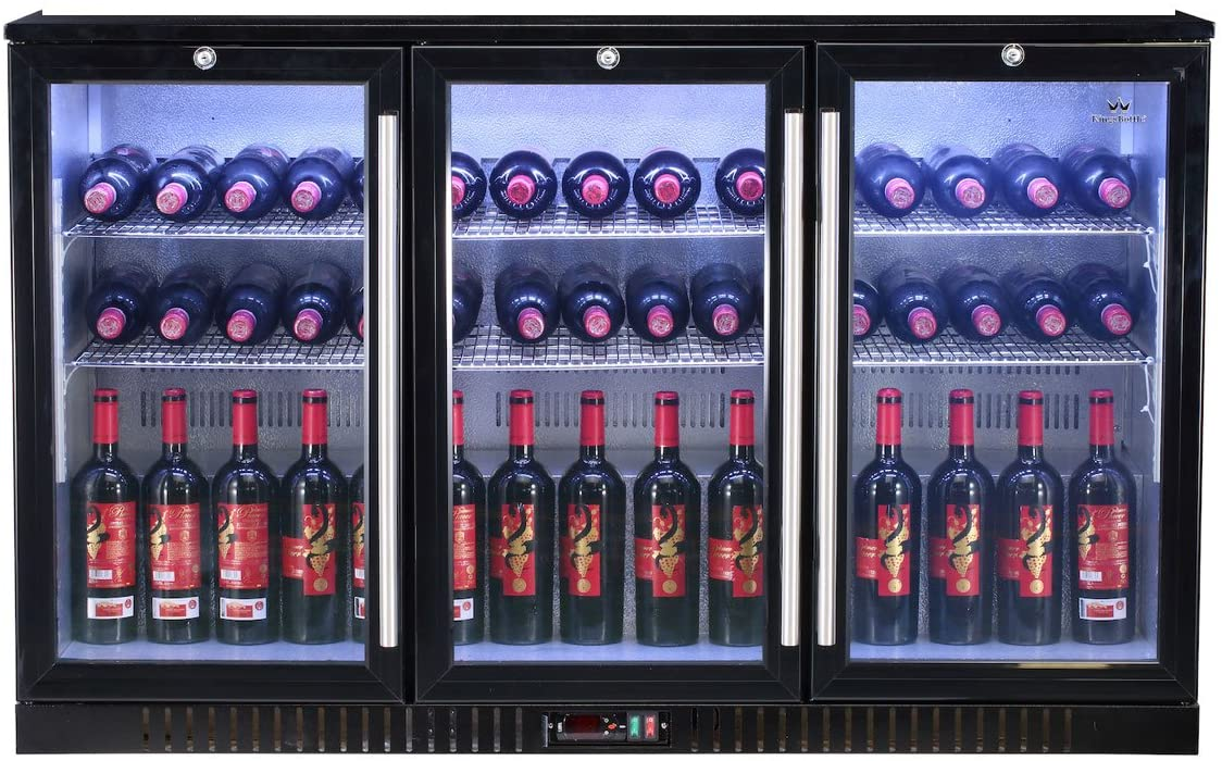 3-Door Back Bar Cooler Refrigerator - This beverage bar fridge features with Italian Carel Controller, LG Compressor, EBM Fan, Self-Closing Glass Door, perfect for bars, restaurants and game rooms.