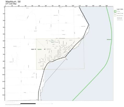 ZIP Code Wall Map of Washburn, WI ZIP Code Map Laminated
