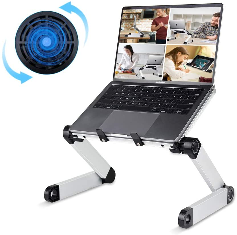 Adjustable Laptop Desk, RAINBEAN Laptop Stand with Large Cooling Fan Laptop Workstation Foldable Portable Notebook Holder Computer Table Book Riser Work Form Home for Ipad and MacBook
