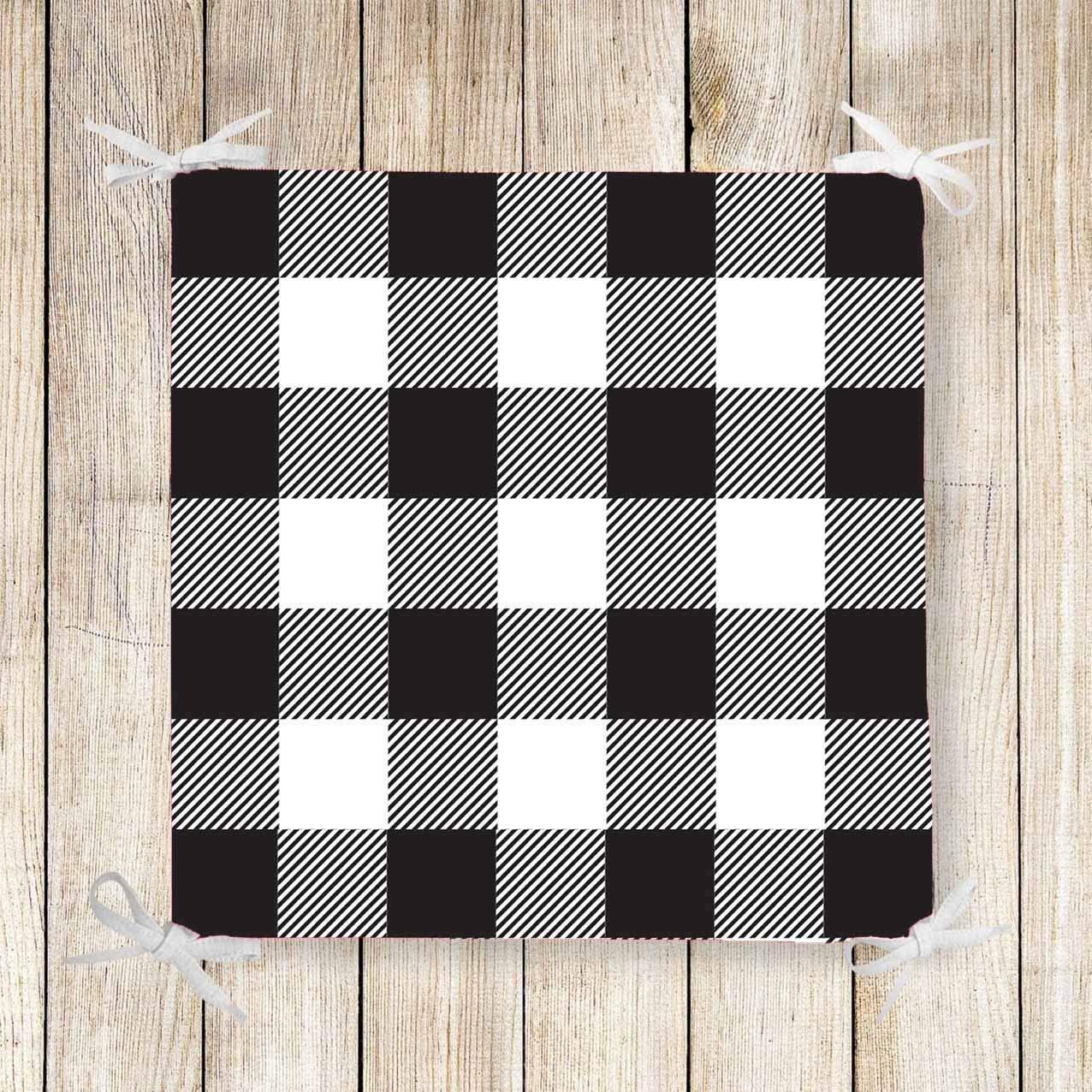 ELSE CARPET Buffalo Check Chair Pad Seat Cushion Softness Memory Foam Full Lenght Ties Non Slip Washable Zipper, Black & White