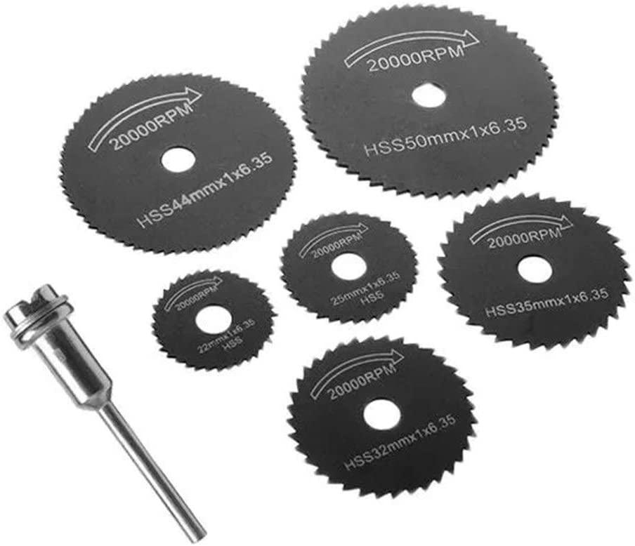 Gulakey Saw blade, 7pcs HSS Black Saw Blades Cutting Discs Mandrel Cutter Rotary Tool Cutting tool