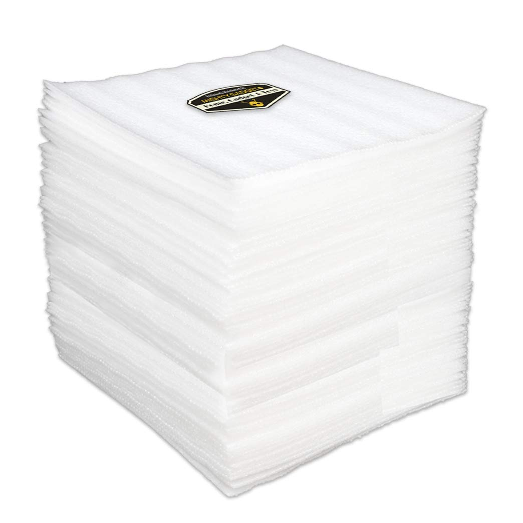 "50 Count Extra Protection Cushion Foam Sheets 12"" x 12"", 1/8"" Thick Safely Wrap and Protects Dishes, Plates Glasses, Cups, Furniture Legs or Edge + 10 Fragile Stickers"
