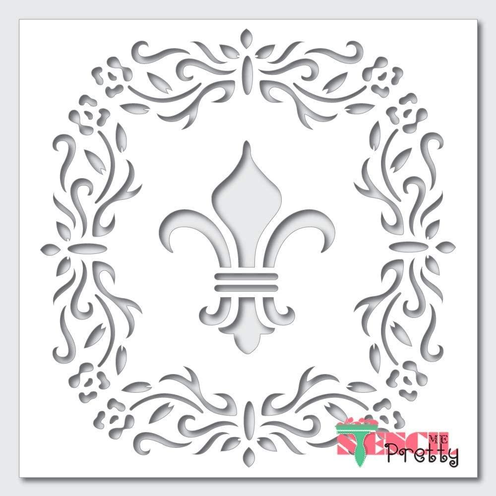 Fleur-de-lis Stencil with Ornate Border-M (13