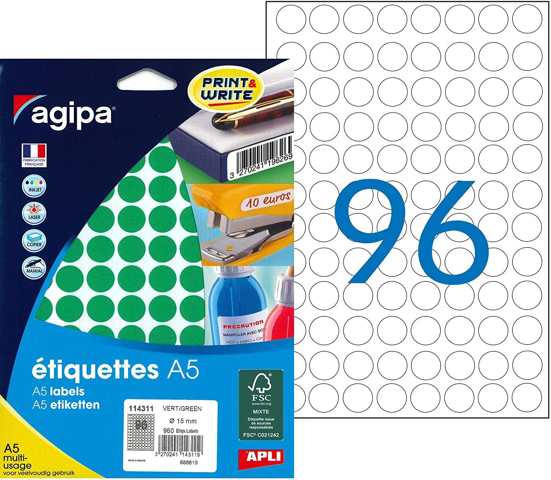 agipa Adhesive Circular Stickers (Diameter 15 MM Round Green