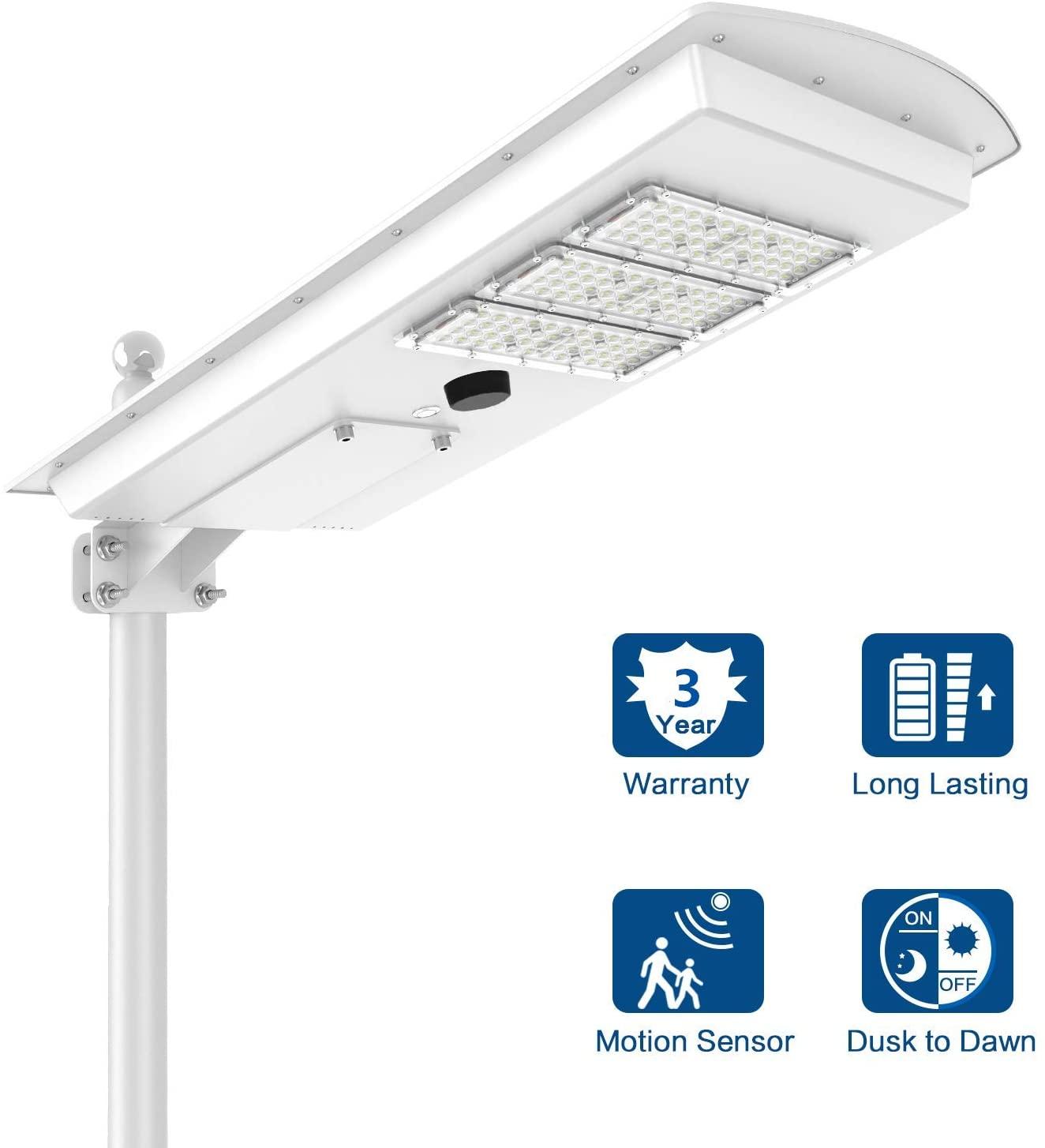 LED 50W Solar Street Light Outdoor Dusk to Dawn Motion Sensor Commercial Area Lighting Yard Garden Security Lamp Waterproof Wireless Installation