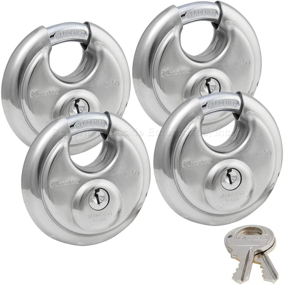 Master Lock - (4) Keyed Alike Stainless Steel Trailer and Multi Purpose Padlocks 40KA-4