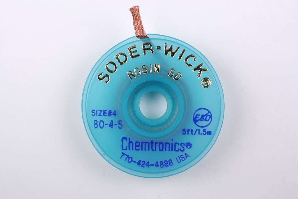 Chemtronics SODER WICK 80-4-5 Braid, DESOLDERING, Rosin SD, 5FT, BLUE