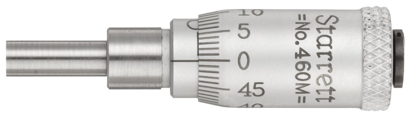Starrett 460MB Micrometer Head, 0-13mm Range, 0.01mm Graduation, +/-0.002mm Accuracy, Plain Thimble, 16mm Spindle Length