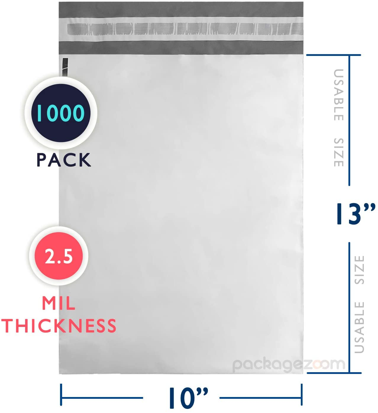 PackageZoom 1000 Pcs 10 x 13 Poly Mailer Envelopes Double Layer 2.5 Mil Shipping Bags with Self Sealing and Waterproof Tear-Proof Postal Bags, White