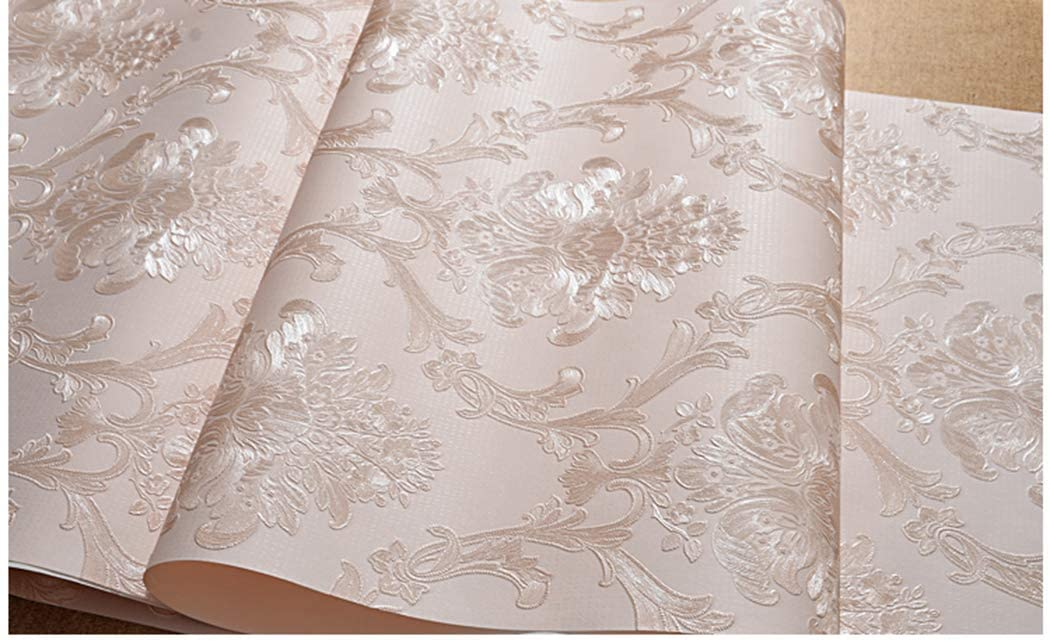 Victorian Damask Embossed Wallpaper Peel and Stick Wall Paper Mural for Bedroom Bathroom Living Room Home Decoration (53cmx3m, Light Pink)