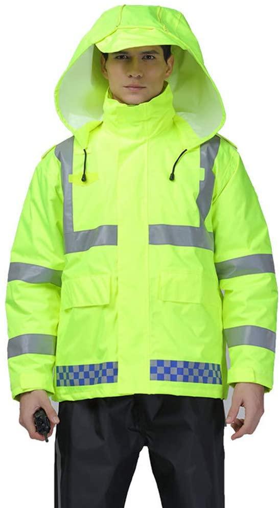 Tuuertge Safety Jacket Reflective Safety Jacket Waterproof Rain Jacket and Pant Safety Raincoat for Work Outdoor Activity Vest Reflective Jacket (Color : Green, Size : Medium)