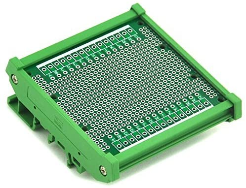 Electronics-Salon DIN Rail Mounting Carrier Housing with Prototype Board, PCB Size 77.4 x 72mm