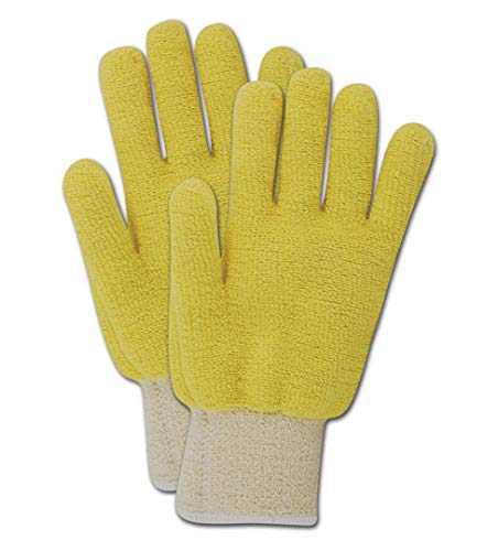 Magid Glove & Safety T524CBKV-XS Magid Cut Master T524BKV Cut-Resistant Loops-Out Terrycloth Gloves, Made with Dupont Kevlar 500, 8, Yellow, Ladies XS (Fits XXS) (Pack of 12)