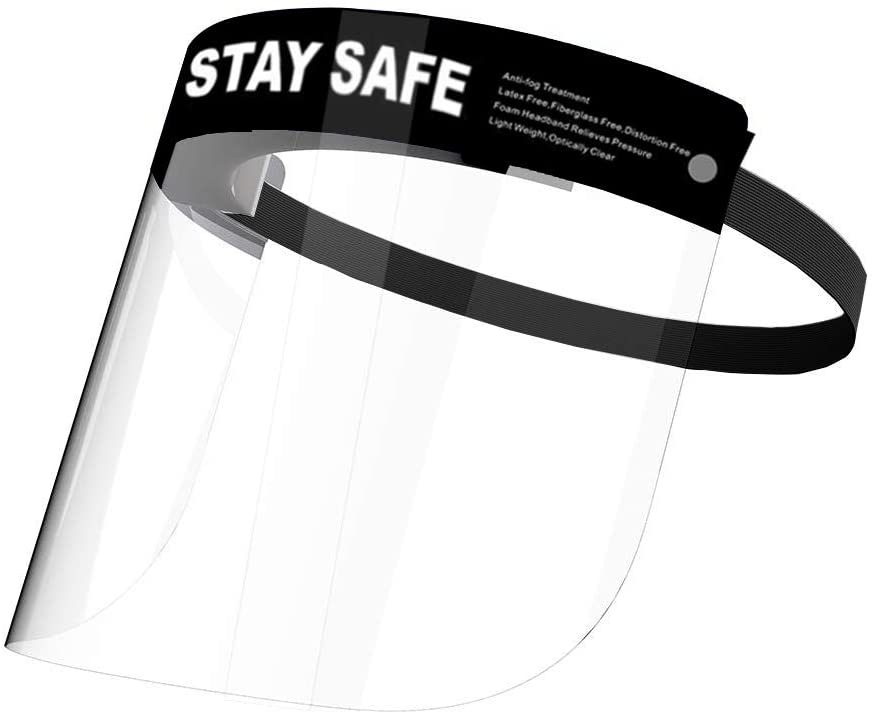 10-Pack Face Shield,Adjustable Anti-Fog Dental Full Face Shield with Protective Clear Film Elastic Band and Comfort Sponge