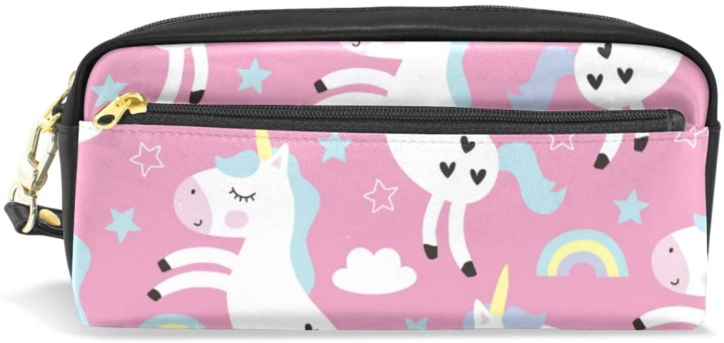 A Seed Pen Pencil Holder Bag Case Pouch Unicorn Rainbow Animal Cute Pink for Boy Girl Women Men