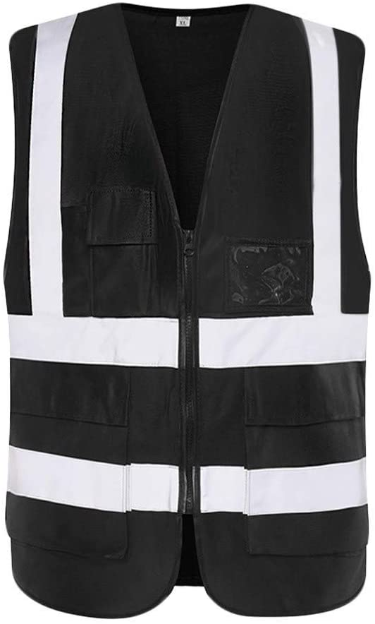 Safety Vest Safety Vest, High Visibility Vest Lightweight Breathable Overalls Night Travel Safety Reflective Safety Vest Simple Black Child Safety Vest