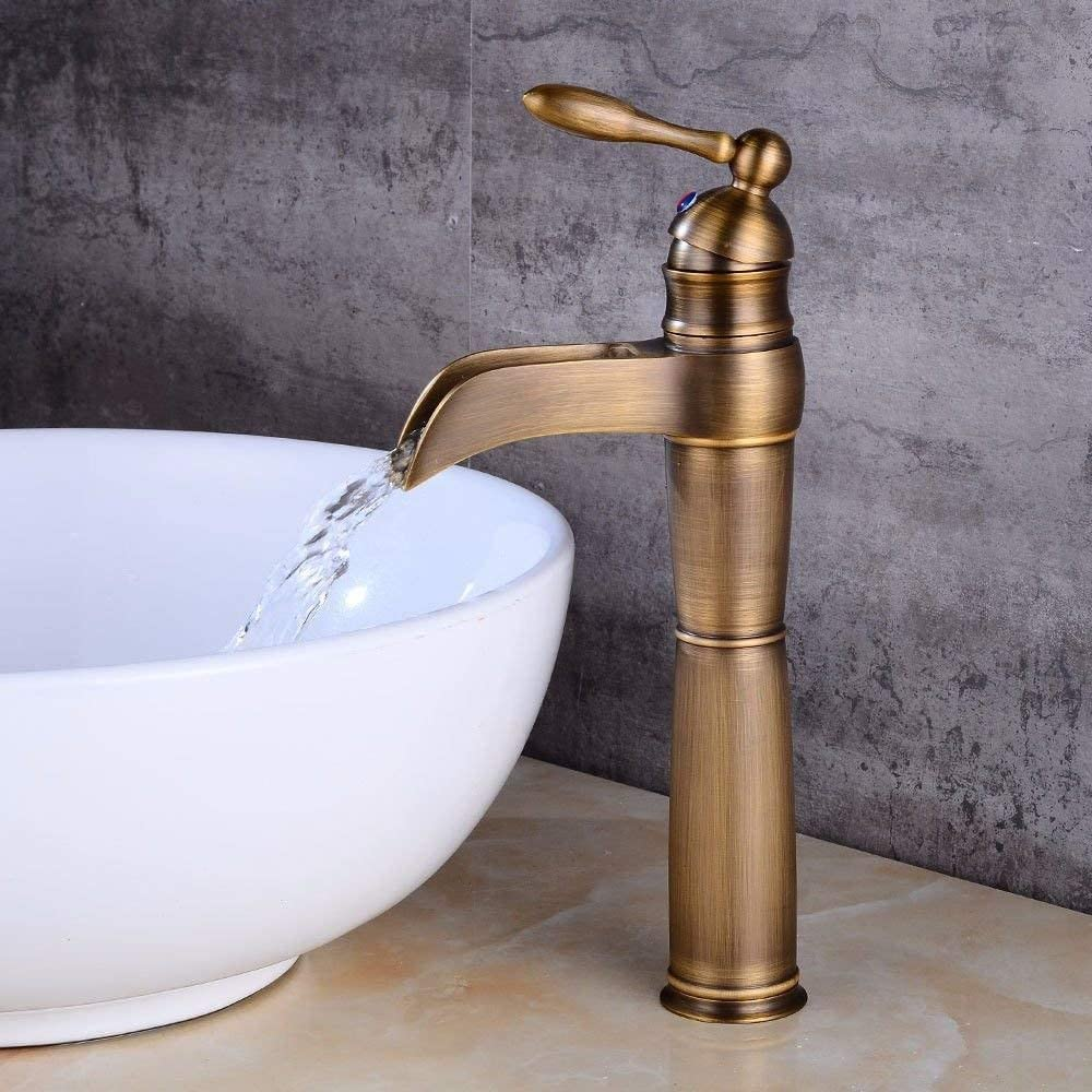 HYF Basin Taps Bathroom Sink Faucet Waterfall Hot and Cold Water Ceramic 1 Hole Single Handle Bathroom Sink Faucet Basin Mixer Tap