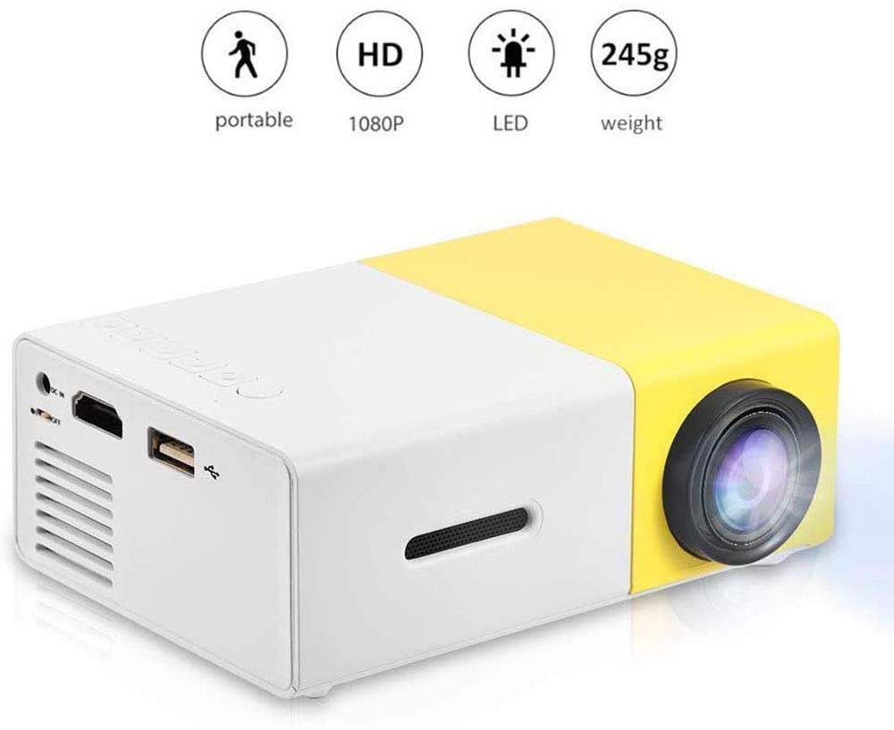 Mini Portable LED Projector Support 1080P HD HDMI, AV, USB Multimedia Player Stereo Speakers for Home Theater Style (Yellow)