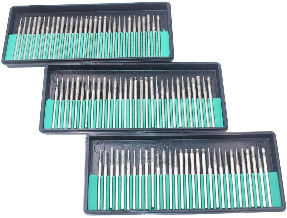 HEYMOUS Diamond Bur Set Drill Bits for Glass Engraving Drilling Holes Rotary Tool Accessories Mandrel Diameter 3mm