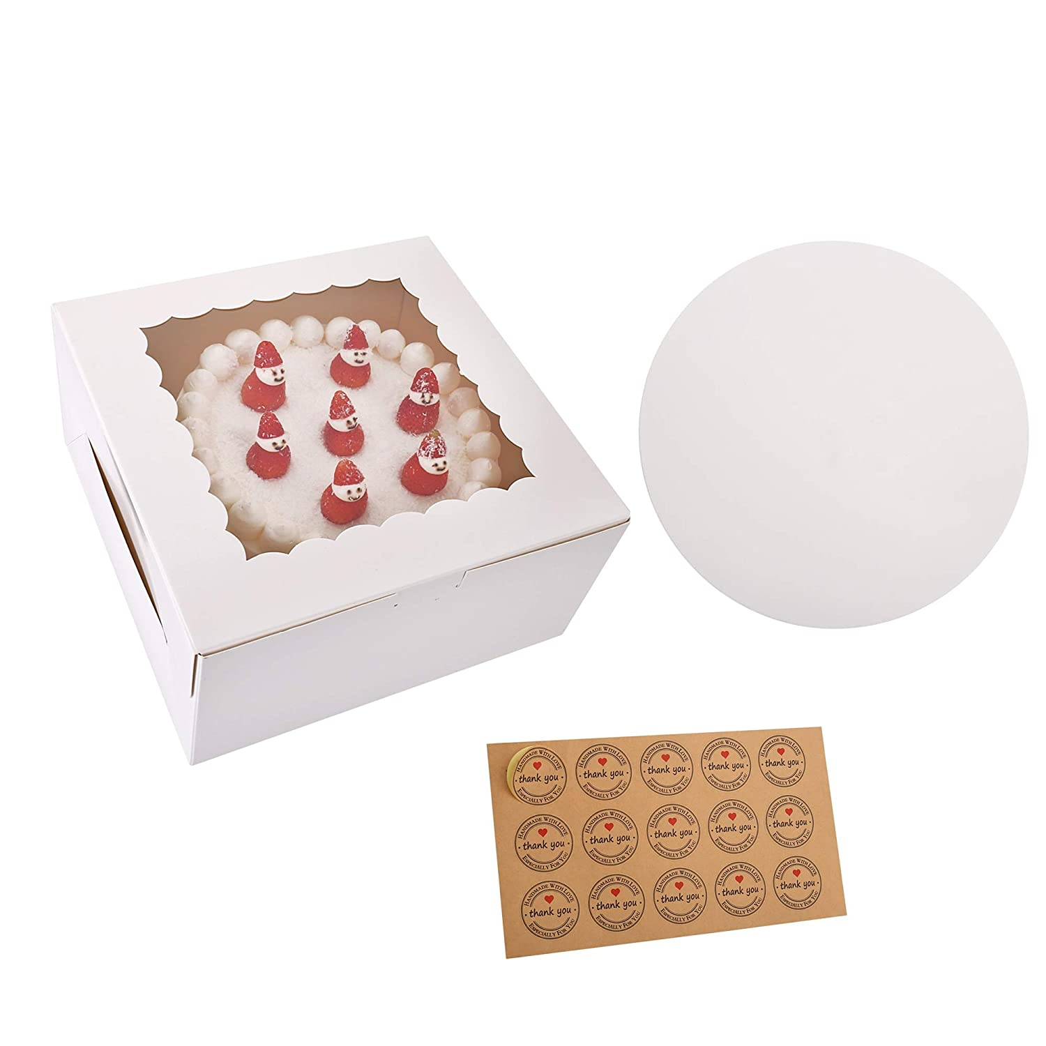 15-Set Cake Boxes with Cake Boards, 10'' x 10'' x 5'', Cake Containers with Window (White)