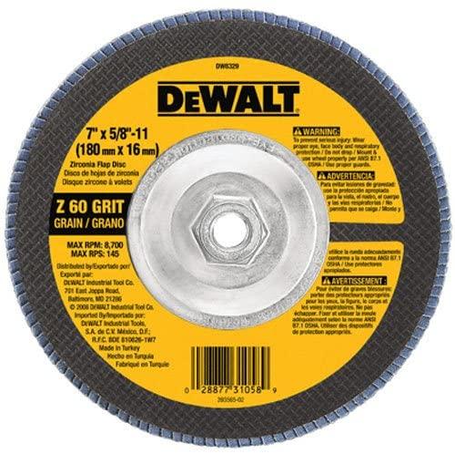 DEWALT DW8329 7-Inch by 5/8-Inch-11 60 Grit Zirconia Angle Grinder Flap Disc