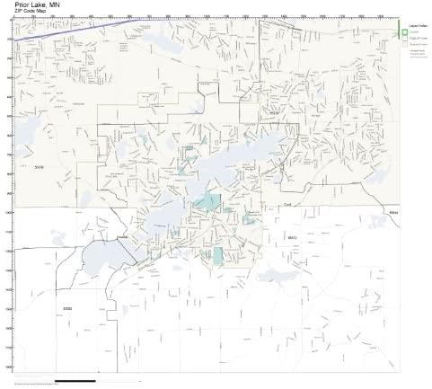 ZIP Code Wall Map of Prior Lake, MN ZIP Code Map Laminated