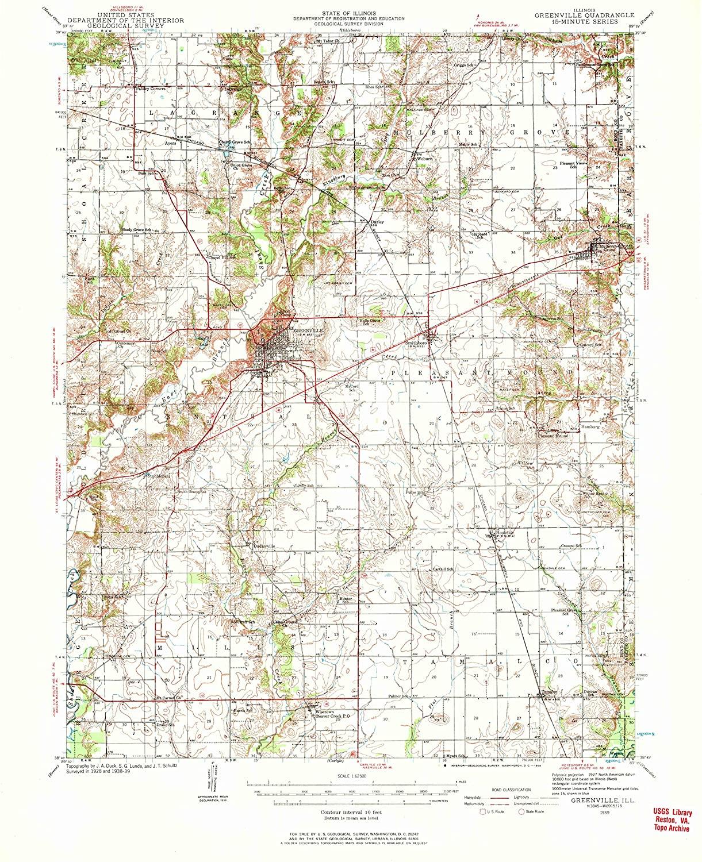 Map Print - Greenville, Illinois (1939), 1:62500 Scale - 24