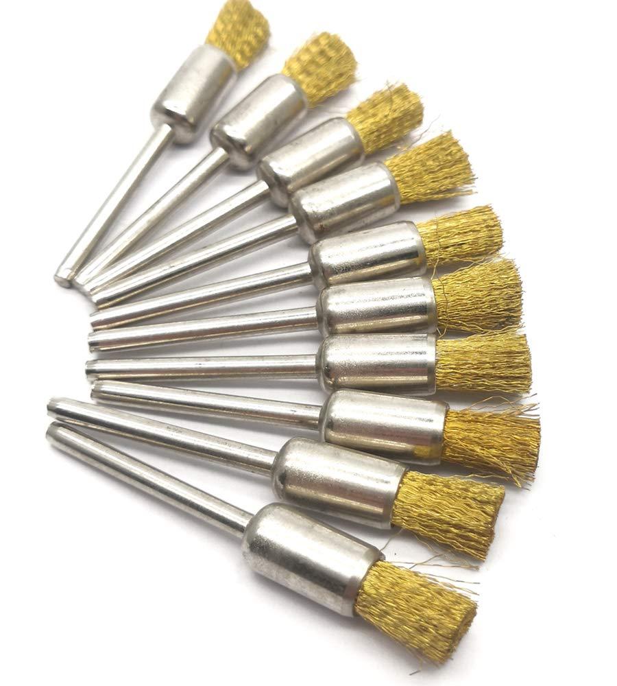 NGe 10Pcs Brass Wire Brushes Set, Pen Shape Polishing Wire Brushes with 1/8