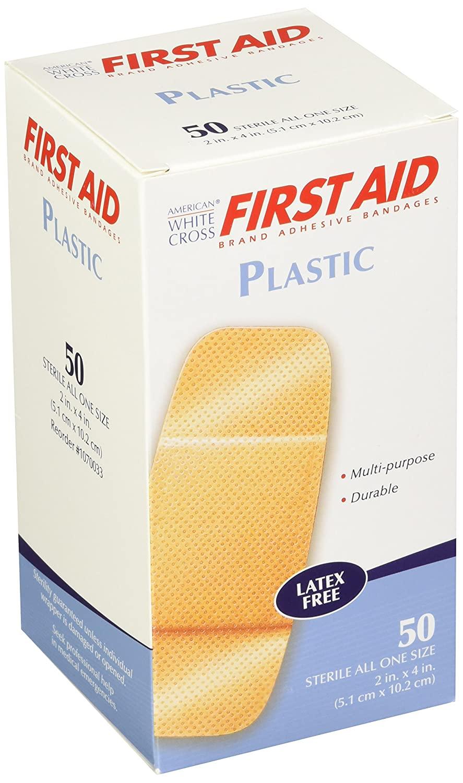 American White Cross Plastic Adhesive Strips, Sterile, 2