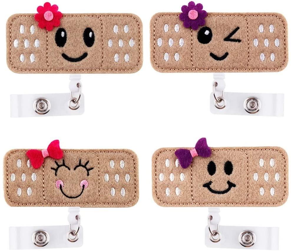 Retractable Badge Holder - ID Badge Holder Reel Clip Name Badge Holder for Nurse, Alligator Clip RN Badge for Women (4 Pack)