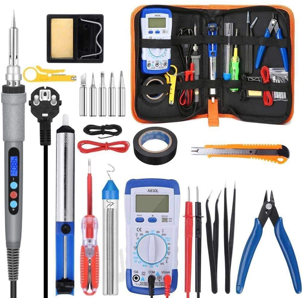 No-branded Soldering Iron 90w 220v 110v Soldering Iron Kit Electric Soldering Iron with Multimeter Set Soldering Iron 5pcs Soldering Tips Tools YAGMGUS (Color : 90w Iron, Size : Free)