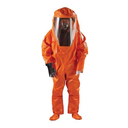 Ansell Healthcare OR60-T-92-802-04-GA1 MICROCHEM by AlphaTec Gas Tight Suit with Attached Sock, Level A, Dual Glove System (Internal Link), Sleeve Over-Cuffs and Boot Over Flaps, Large