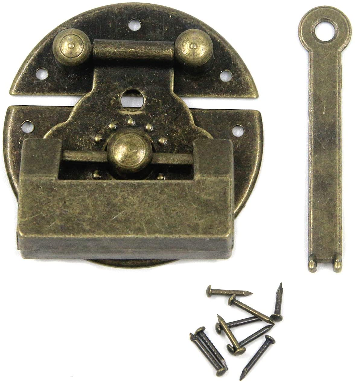 Coshar Vintage Lock and Round Latch Hasp with Screws for Cabinet Jewelry Box Gift Box Wooden Box